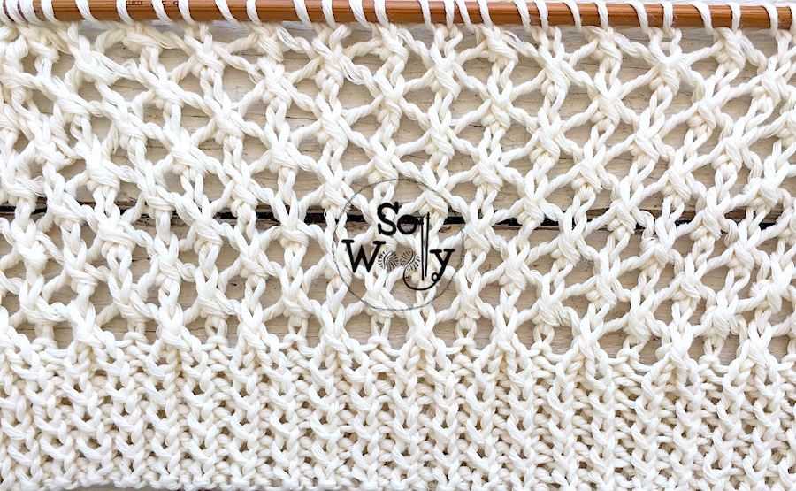 Cell stitch lace knitting pattern (written instructions and video tutorial). So Woolly.