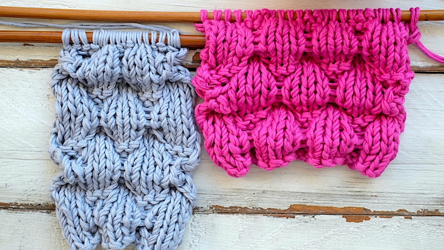 How to knit the Puffy stitch, step by step. Written pattern and video tutorial. So Woolly.