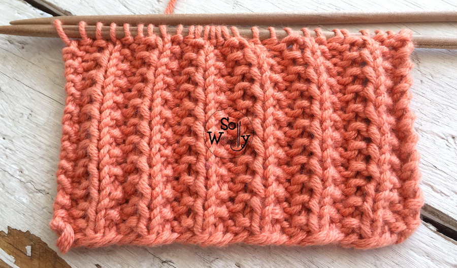 Easy two-row repeat knitting stitch pattern, perfect for beginners. So Woolly.