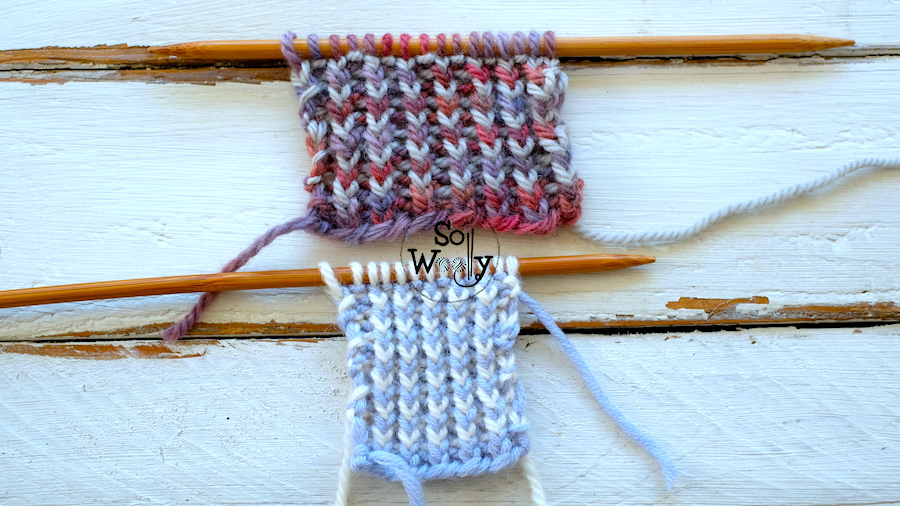 Two-row repeat knitting pattern in two colors: Identical on both sides, and it doesn't curl. So Woolly.