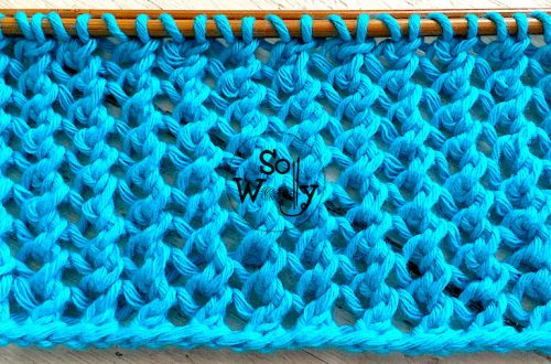 Two-row repeat Mesh knitting pattern