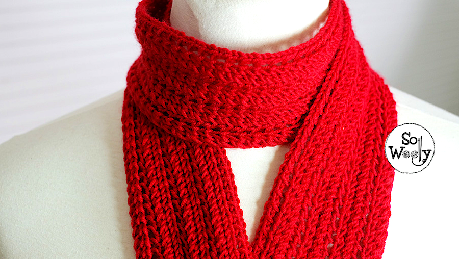 How to knit a children's scarf in Feather Lace stitch pattern. So Woolly.