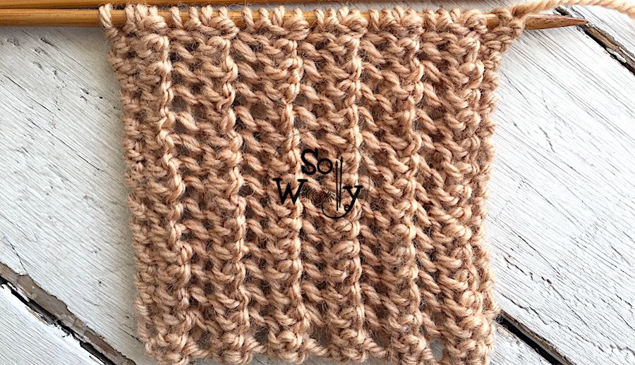 One-row repeat knit stitch pattern great for scarves